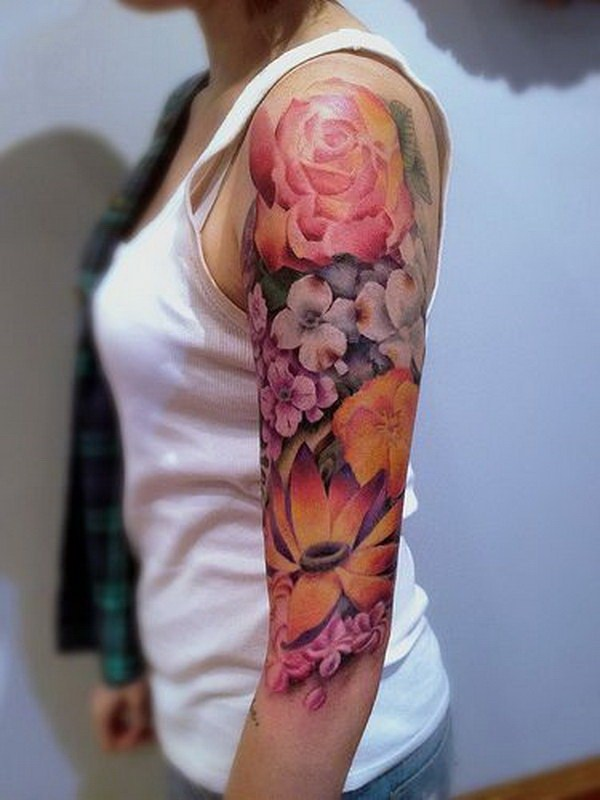 17 Flower Half Arm Sleeve Tattoo for Women