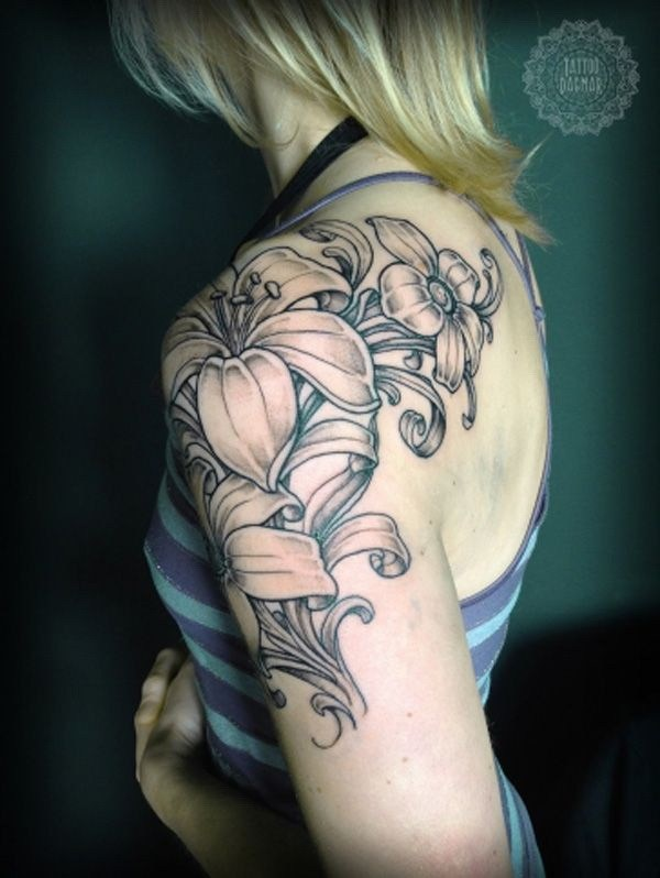 17 Lily Flower Arm Tattoo Design for Women and Girls