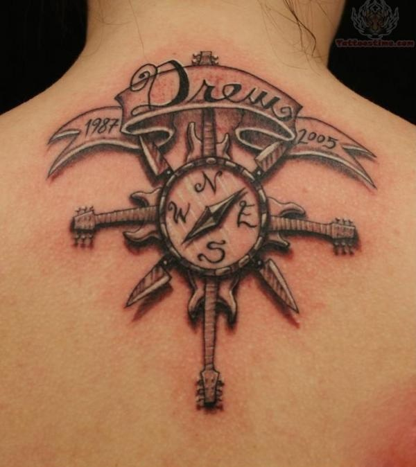 18 Pretty Compass Tattoo on Neck for Girls