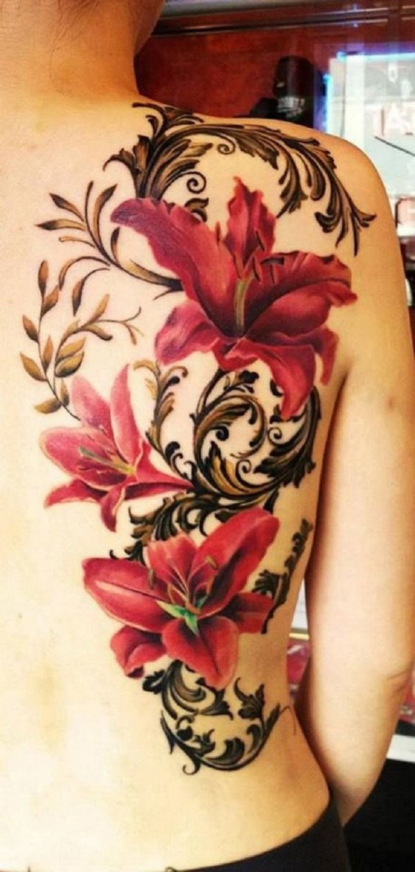 18 Red Lily Tattoo on Back