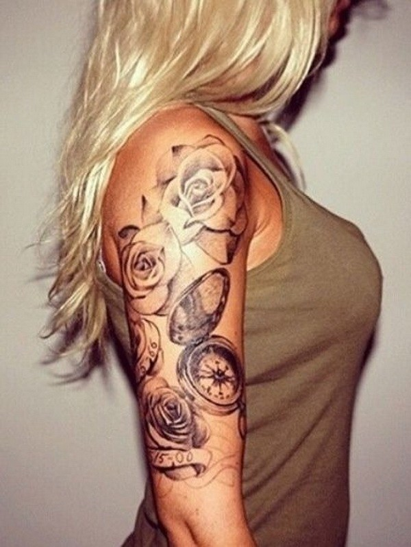 19 Half Sleeve Rose & Compass Tattoo Design For Girls