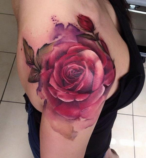 19 Red Rose Shoulder Tattoo