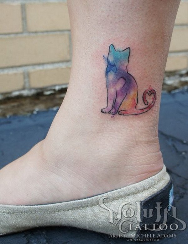 19 Watercolor Cat Tattoo on Ankle
