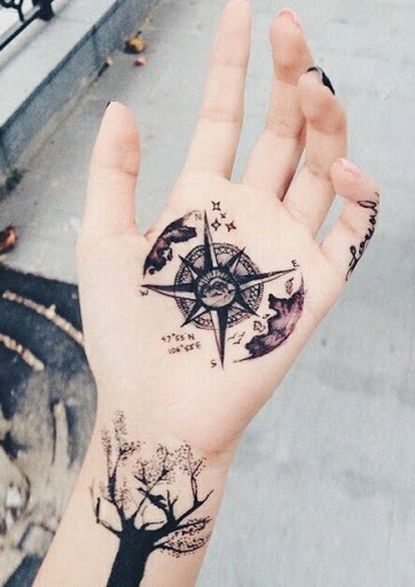 20 Compass Star Hand Tattoos for Girls