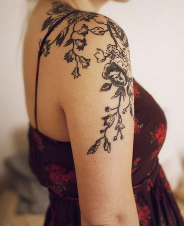 20 Floral Shoulder Tattoo for Women