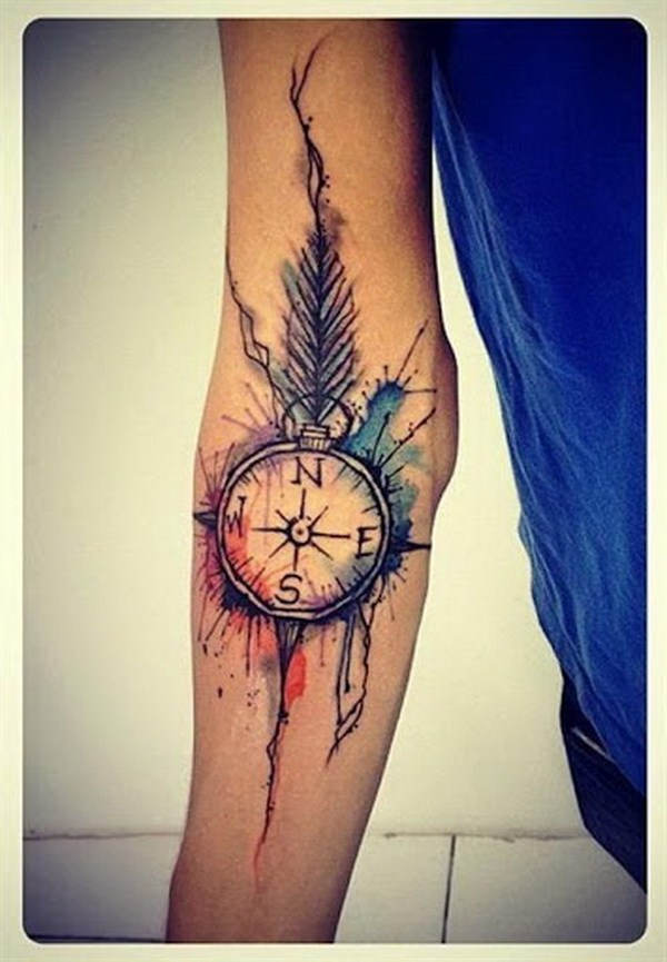 21 Watercolor Compass Tattoo Designs with Feather