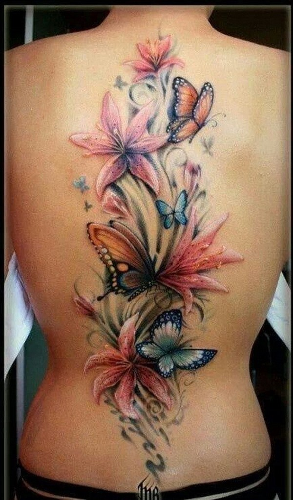 23 Flower and Butterfly Tattoo On Back