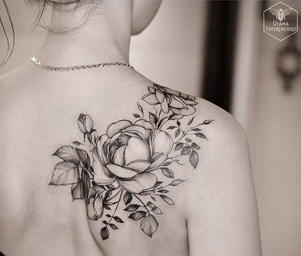 24 Black and White Rose Tattoo on Back Shoulder