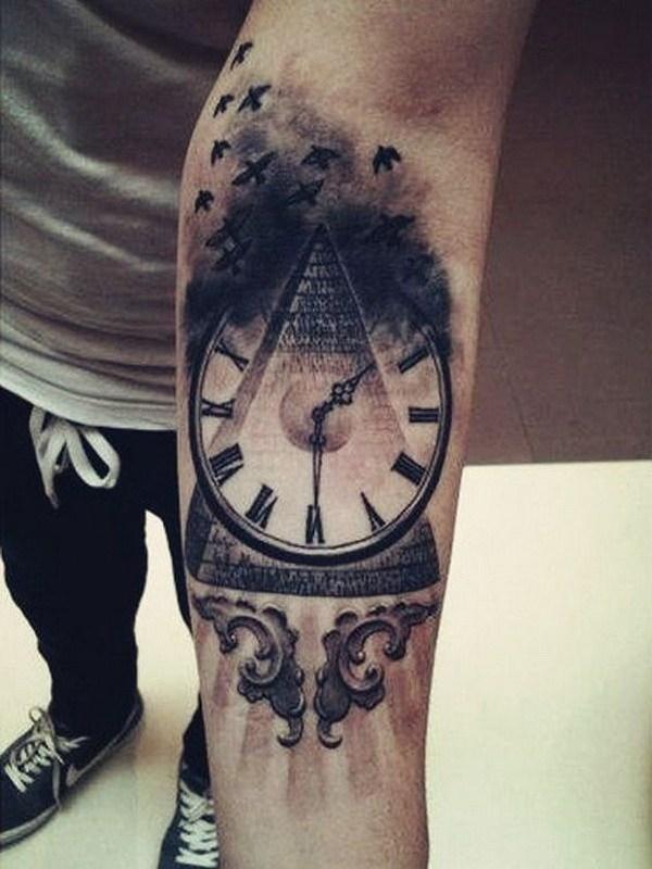 24 Vintage Clock Tattoo Design on Forearm