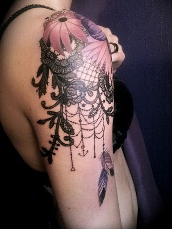 25 Floral and Lace Quarter Sleeve Tattoo