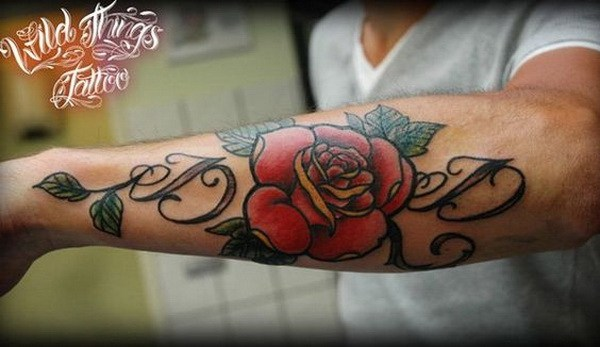 26 Lettering with Rose Forearm Tattoo