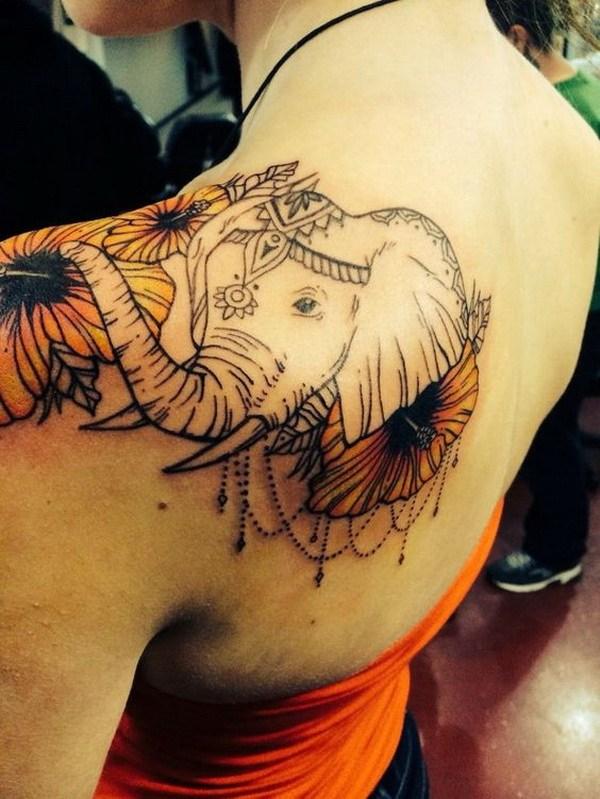 27 Impressive Elephant Shoulder Tattoo