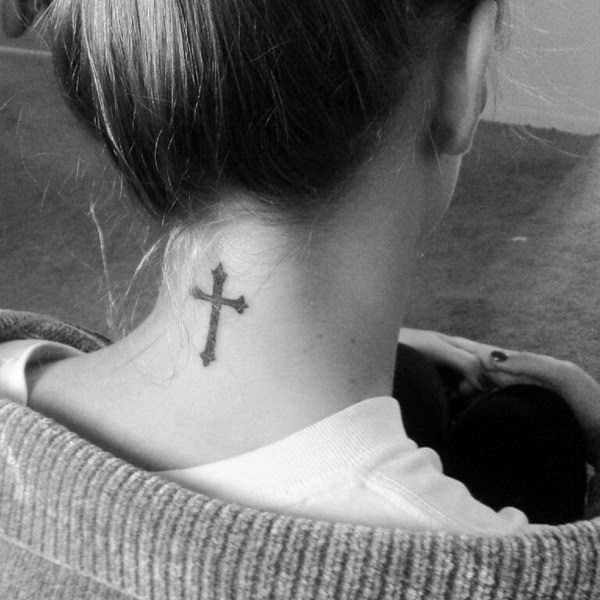 28 Simple Cross Tattoo on Back of Neck