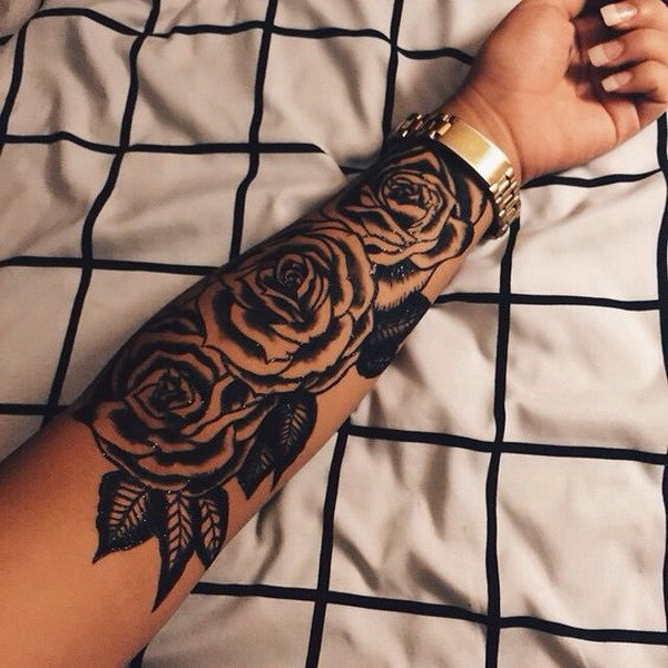 3 Large Rose Tattoo On The Forearm