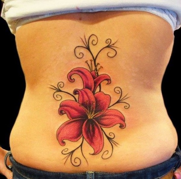 3 Lily Flower Lower Back Tattoo