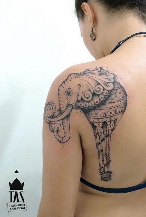 30 Elephant Tattoo on Back Shoulder