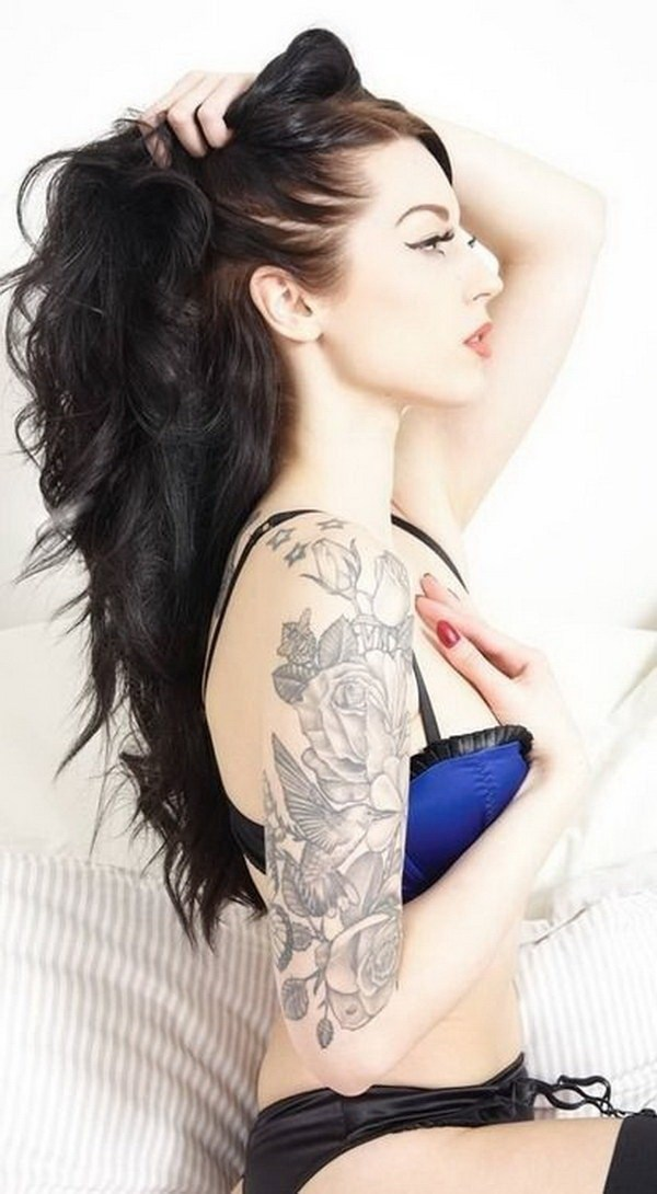 30 Pretty Floral and Bird Half Sleeve Tattoo