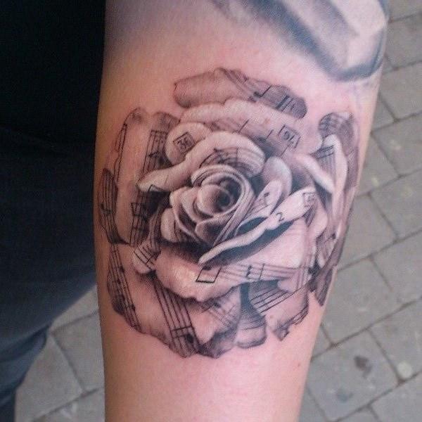 30 Sheet Music Rose Forearm Tattoo