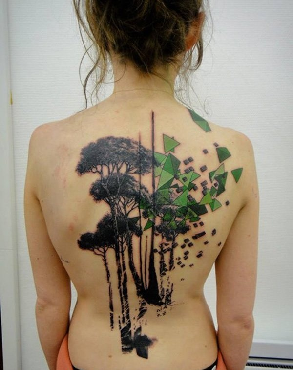 31 Art Tree Tattoo on Back for Girls