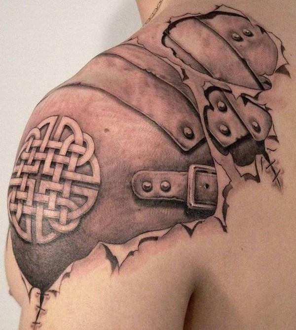 31 Celtic Armor Tattoo on Shoulder for Men