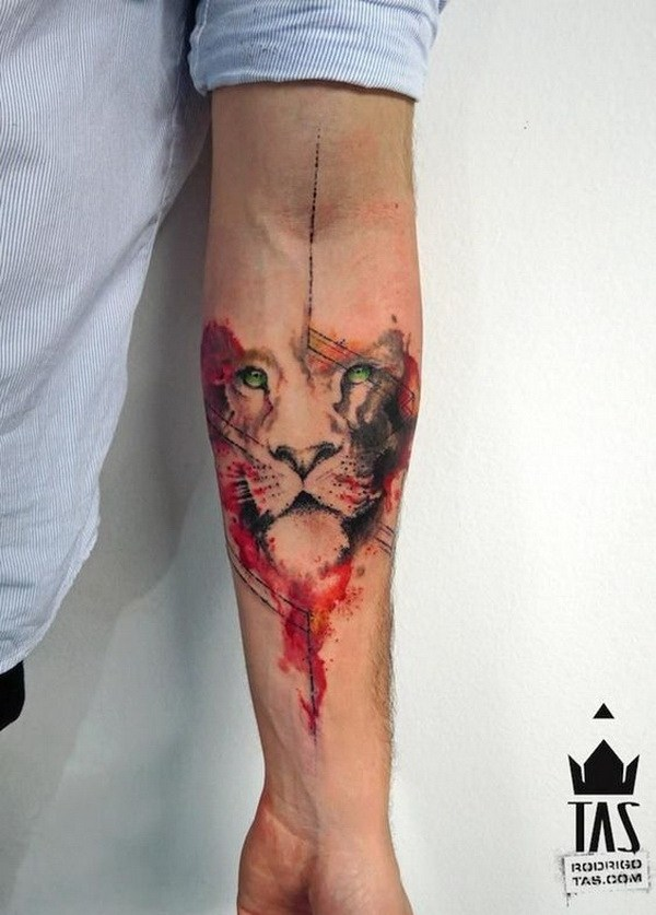 33 Wolf Watercolor Tattoo Design for Men