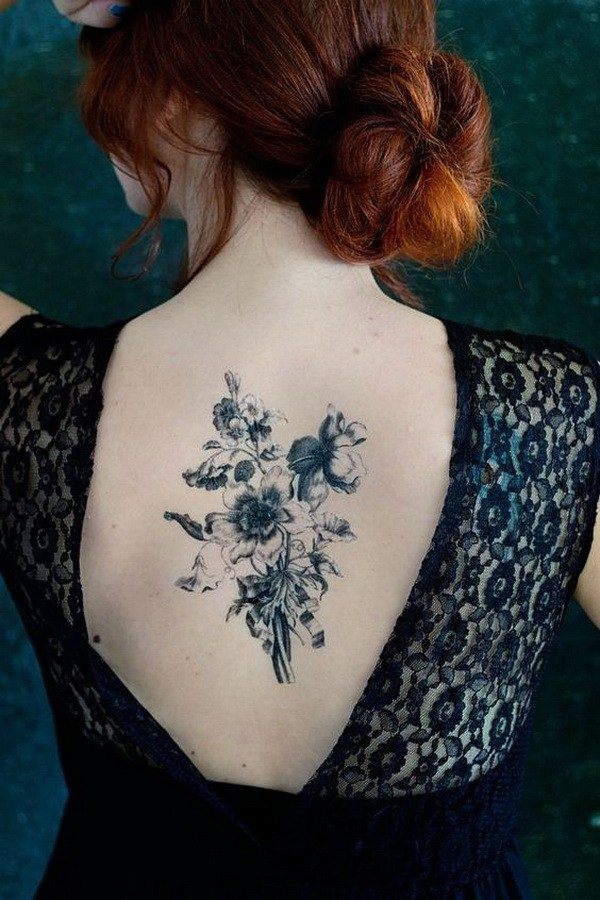 34 Bouquet Back Tattoo for Girls