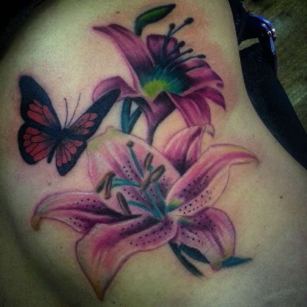 34 Tiger Lilies Tattoo with Butterfly