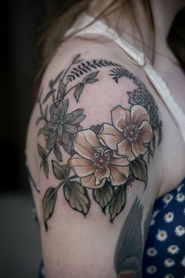 35 Floral Tattoo on Shoulder Cap