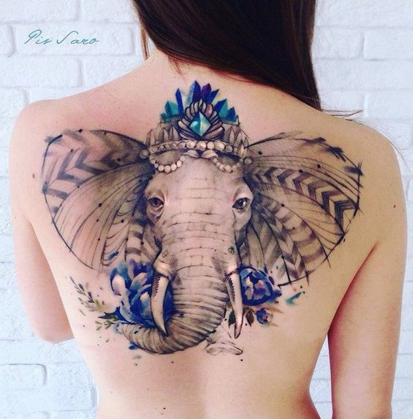 4 Ornate Elephant Back Tattoo