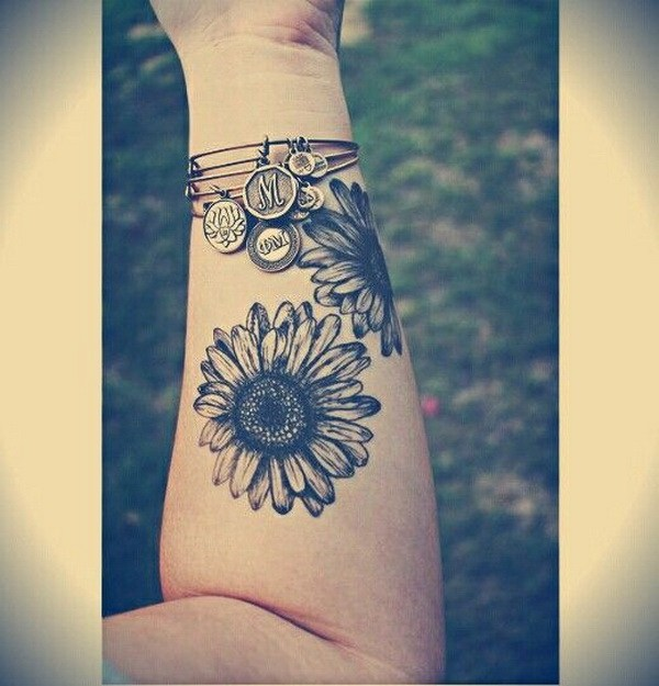 4 Sunflower Forearm Tattoo