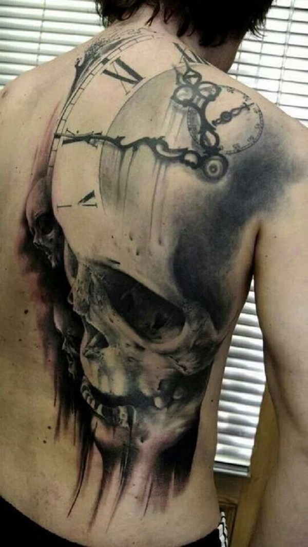 40 Scary Skull Back Tattoo for Men