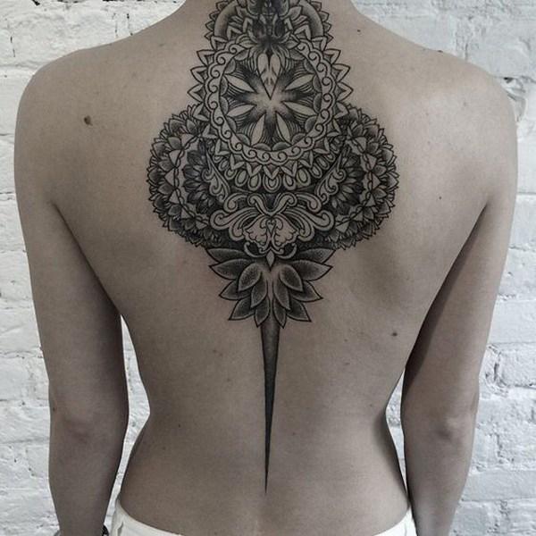 41 Mandala Back Tattoo for Woman