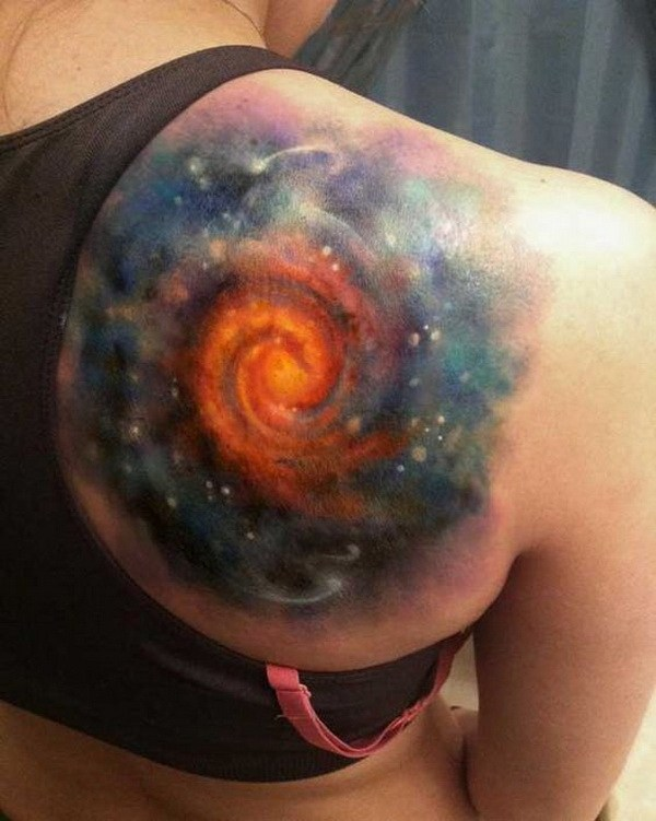 41 Swirling Galaxy Space Tattoo on Shoulder