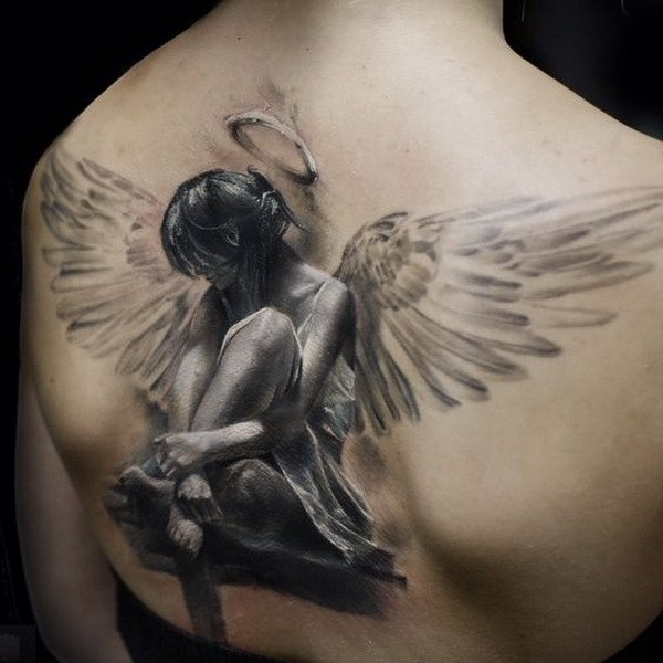 43 Amazing Realistic Angel Tattoo on Back