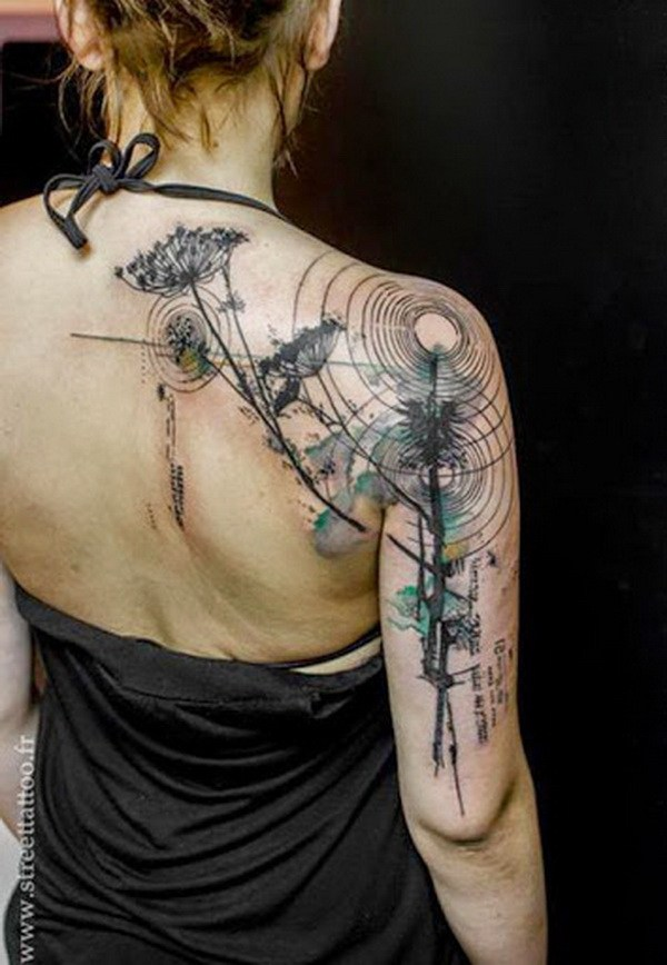44 Watercolor Style Tattoo on Shoulder