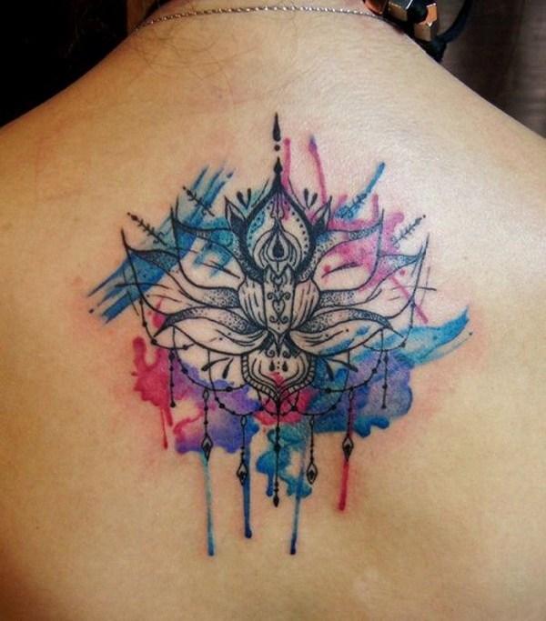 59 Watercolor Mandala Back Tattoo