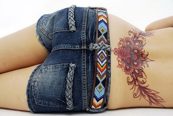 6 Floral Tattoo on Lower Back