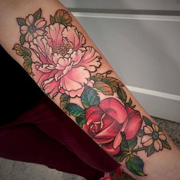 6 Peony and Rose Tattoo on the Forearm