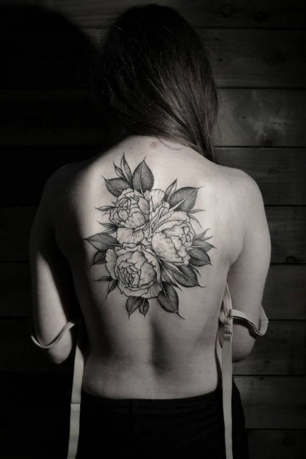 60 Roses Tattoo On Back
