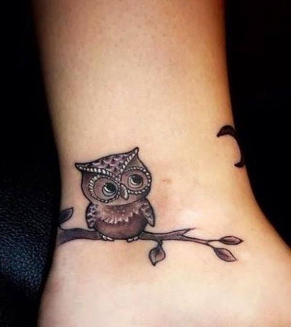 7 Owl Ankle Tattoo