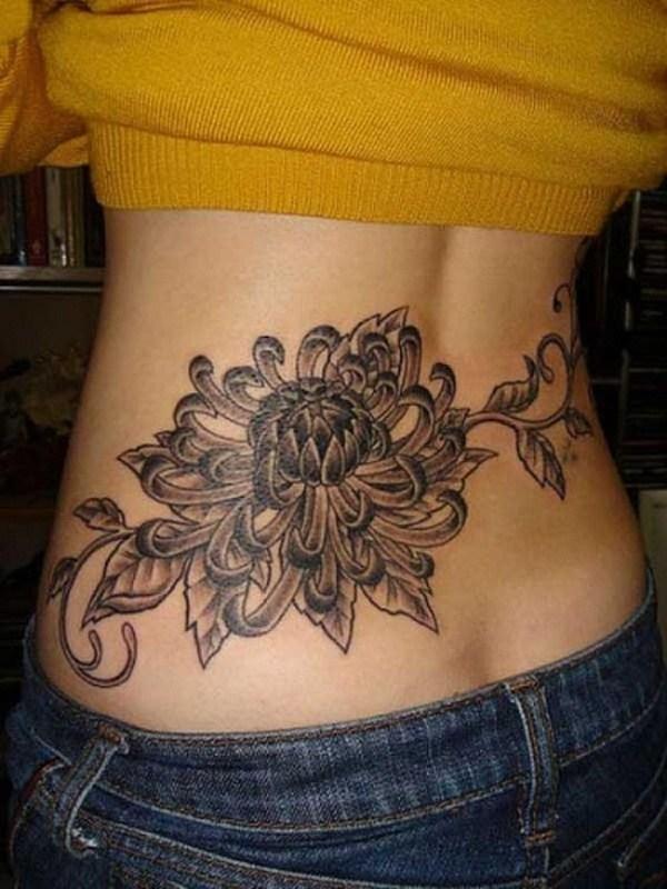 8 Gray Chrysanthemums Lower Back Tattoo