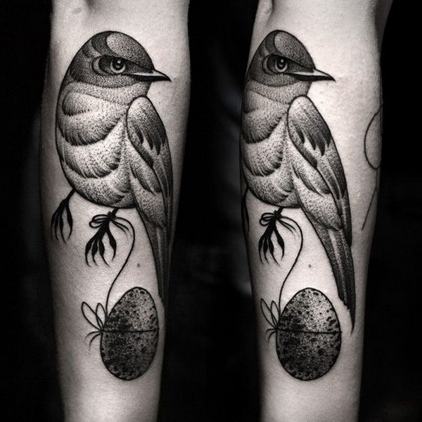 9 Black and Grey Bird Tattoo on the Forearm
