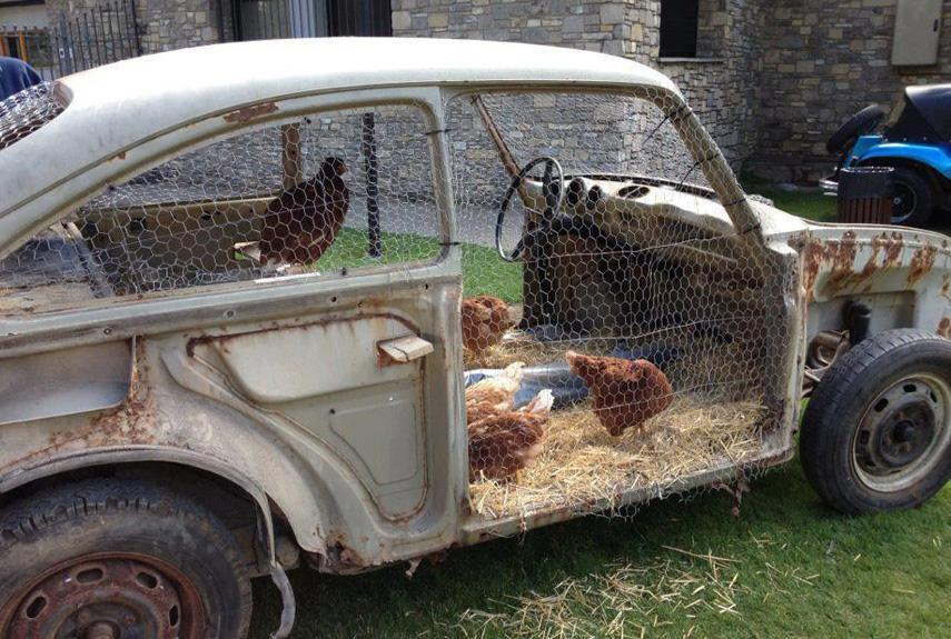 27 An old Car Repurposed into a Chicken Coop