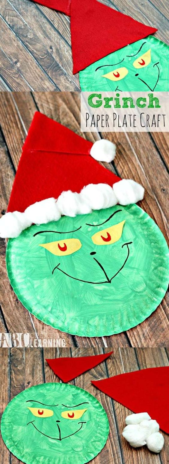 23 Grinch Paper Plate Christmas Craft