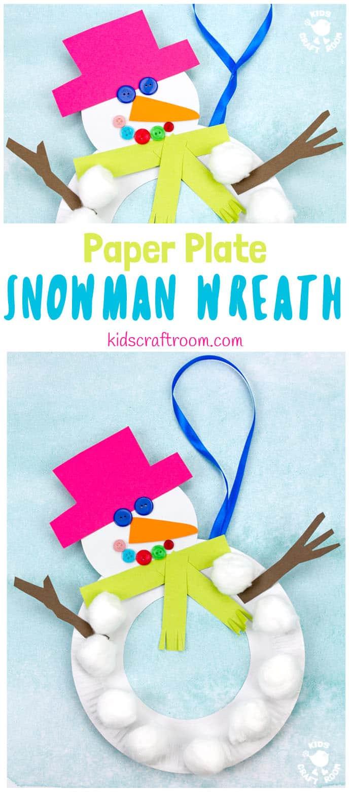 32 PAPER PLATE SNOWMAN WREATH