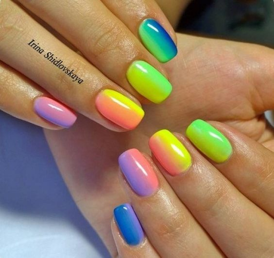 45 Charming Multicolor Simple Nail Art Designs
