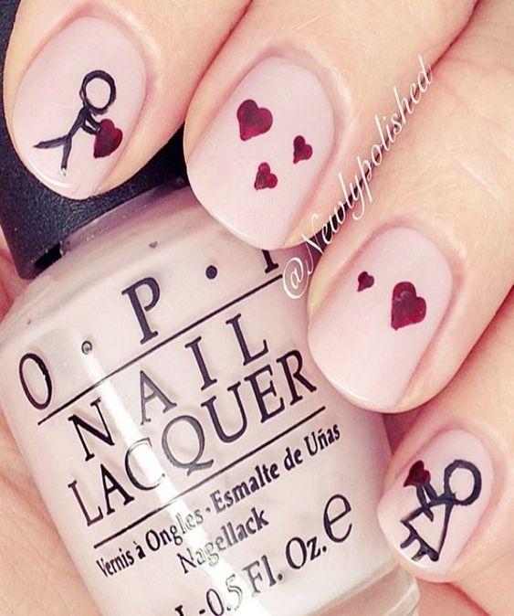 32 valentines nails