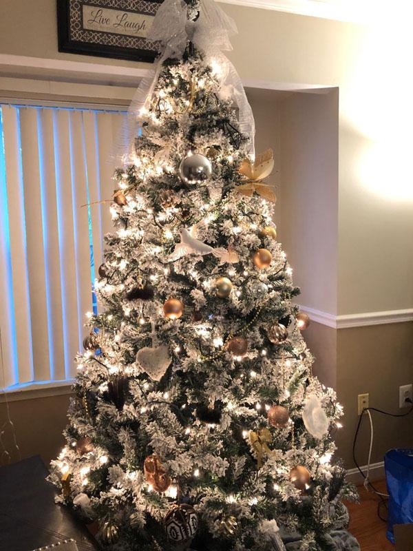 5 Snow Flocked Hinged Artificial Christmas Pine Tree