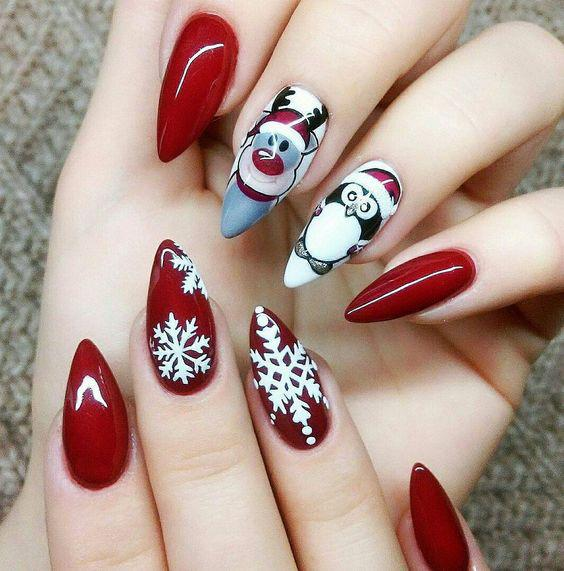 30 Awesome Christmas Red Stiletto Nail Art Ideas You Must Try Page 10 Foliver Blog