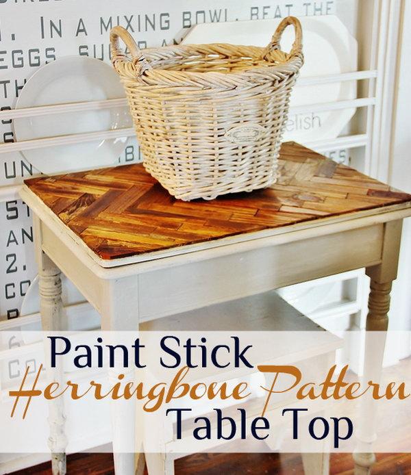 10 Herringbone Paint Stick Pattern Table Top
